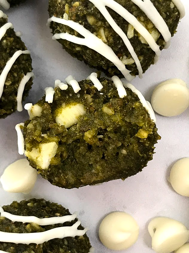 white chocolate matcha energy balls close up