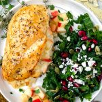 Chicken breasts stuffed with apples and brie cheese that are baked to perfection and brushed with a sweet maple glaze. It's then served with an easy kale side salad