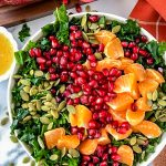 A healthy kale salad made with clementine oranges, pomegranate arils and toasted pepitas ands erved with an easy honey-lemon vinaigrette. It's the perfect side dish for the holidays!