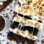 Zucchini bread made with chocolate chips and toasted marshmallows on top. It's a fun way to get your hot chocolate fix in!