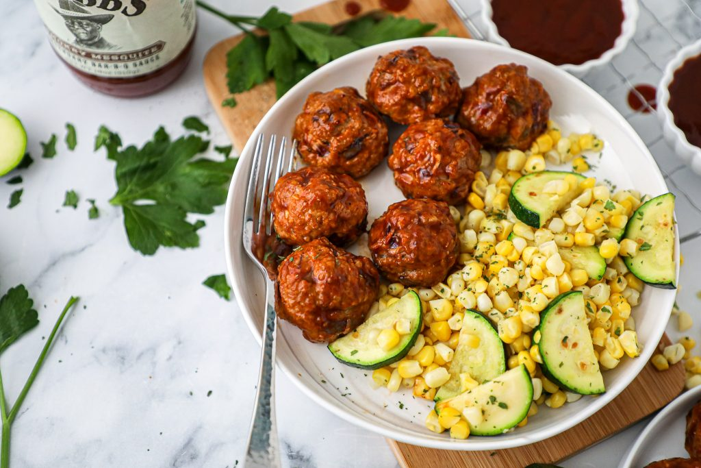 You can't go wrong with this easy meatball recipe! They're made with ground turkey, onions, panko breadcrumbs and your favorite bbq sauce!