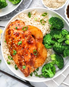 Tender teriyaki chicken breast stuffed with canned pineapple rings! This incredibly easy dinner is perfect for a weeknight meal!