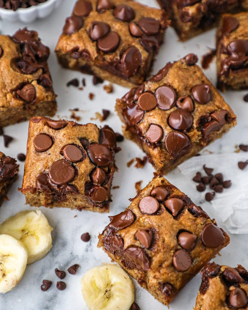 These bars taste just like banana bread but in brownie form! They have an ooey gooey center and are loaded with chocolate chips!