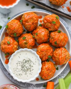 Easy buffalo turkey meatballs are a great way to satisfy your buffalo craving without all the guilt!