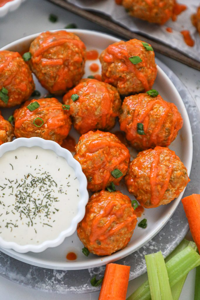 Meatballs made with ground turkey, celery and Franks Red Hot Sauce! They're a great healthy alternative to your favorite fried buffalo wings!