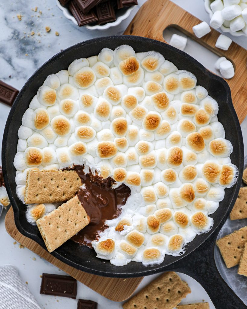 3 ingredients and 6 minutes is all you need to make this decadent s'mores skillet dip!