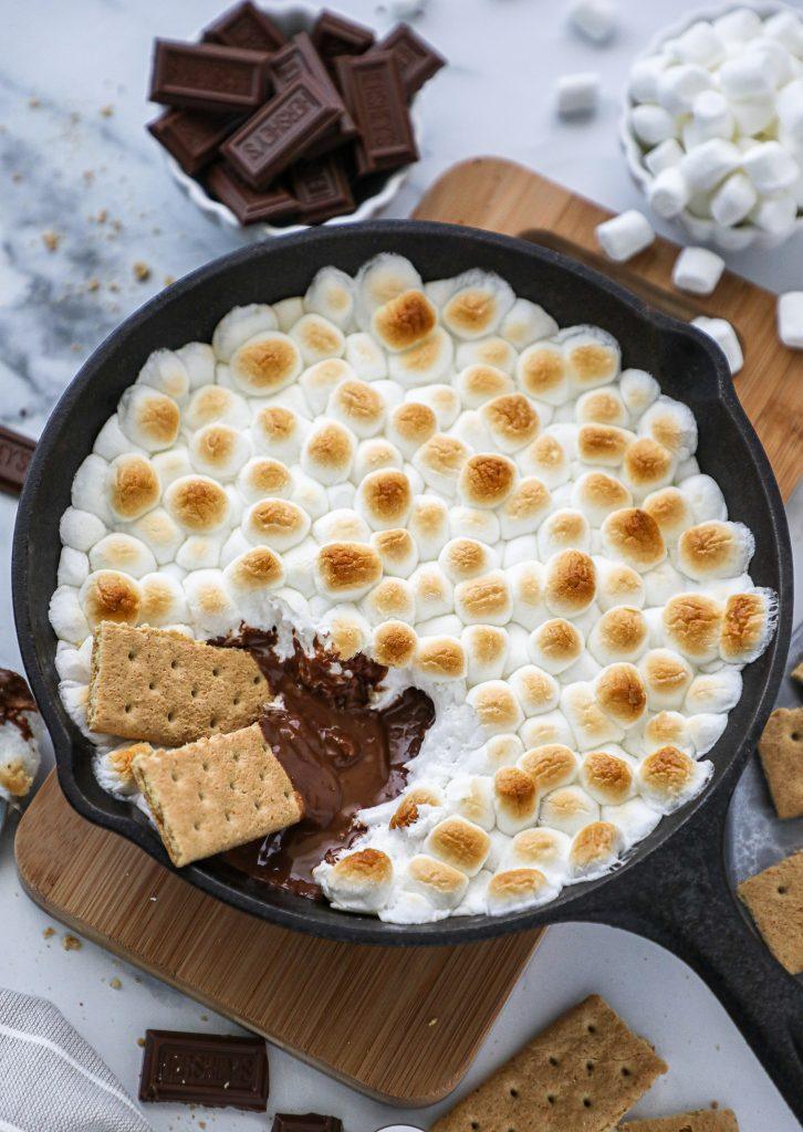 This incredibly simple s'mores skillet dip recipe is just what you need this summer! Plus you can make it gluten free and dairy free too!