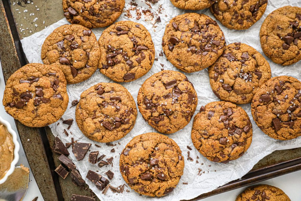 Easy and delicious chocolate chunk almond butter cookies! They're so addicting you won't be able to stop at one!