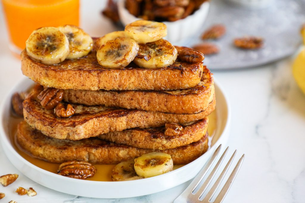 Banana bread french toast is a delicious breakfast/brunch recipe that you won't want to stop eating! It's only 5 ingredients and is completely dairy free!