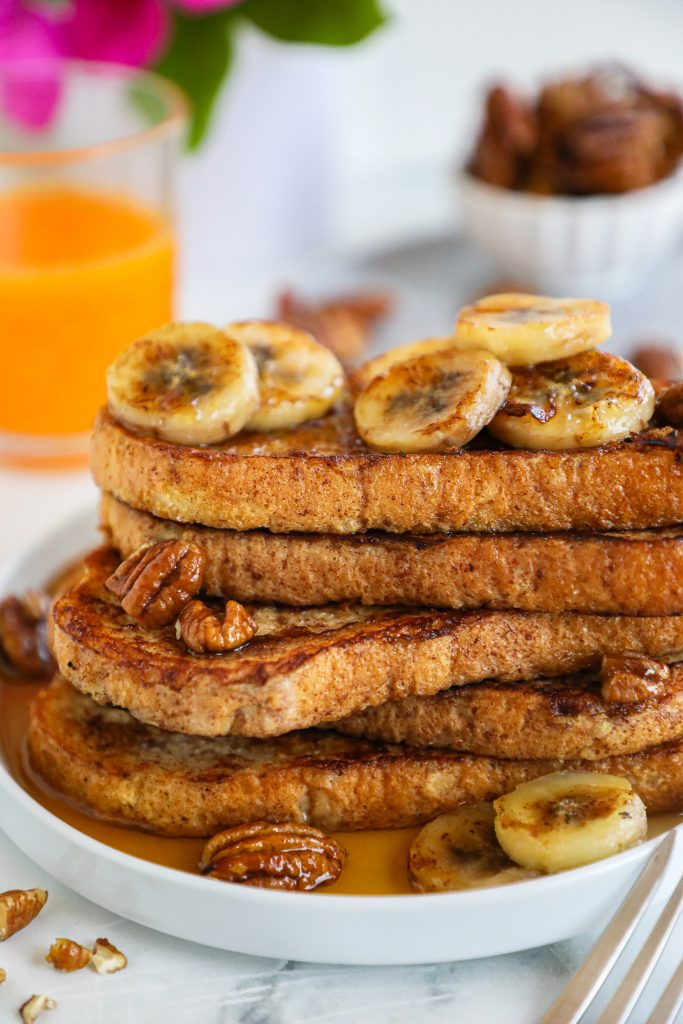Banana bread french toast is a fast and easy way to enjoy the flavors of banana bread without doing all the work! It's healthy, delicious and packed with so much flavor!