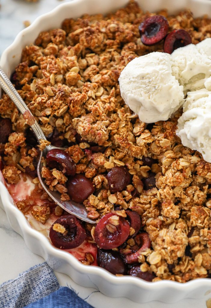 An easy summer time dessert made with fresh cherries and a delicious cinnamon crumb topping! You'll be wanting to make this one again and again!