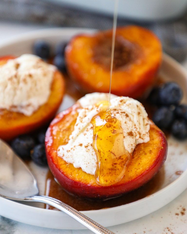 Sweet, decadent and healthier for you too! These easy baked nectarines are the perfect treat for summer!
