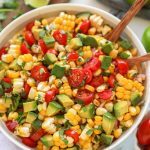 Healthy and delicious summer corn salad is the perfect side dish for summer! It's light and refreshing and so easy to make too!