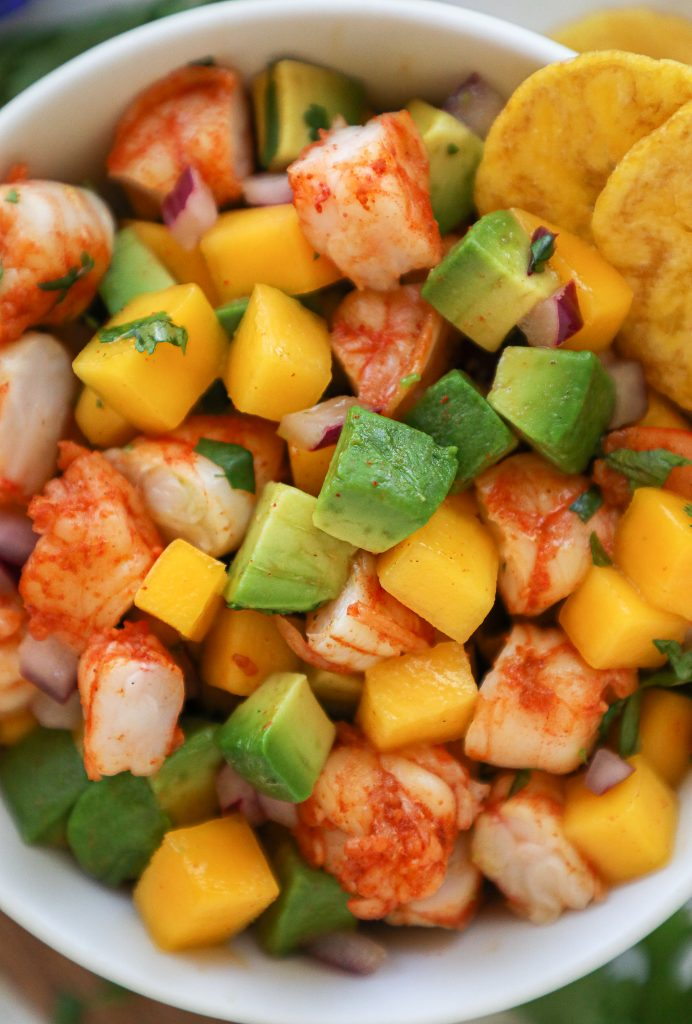 A healthier and spicy take on shrimp salad! It takes no time at all to make and is gluten free and dairy free too!