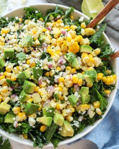 Mexican street corn kale salad is a delicious and healthy side salad that pairs well with any dish! It's flavorful, creamy and so easy to make too!
