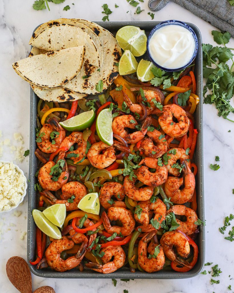 Need an easy meal for going back to your busy routine? Try these incredibly flavorful shrimp fajitas! They only require 4 ingredients and take no time at all to make!