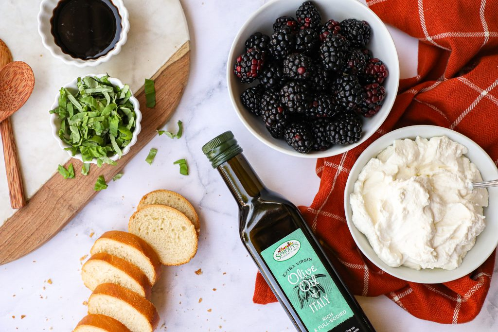 Blackberries, balsamic vinegar, ricotta, honey and basil are all you need for this delicious appetizer! They take minutes to make and are always a crowd favorite!