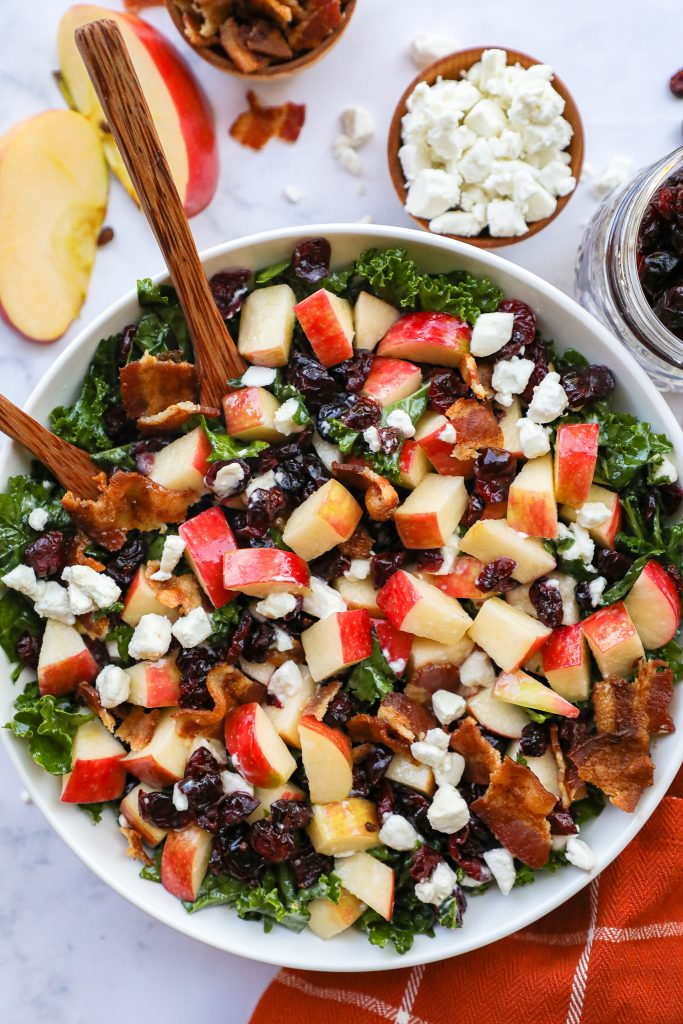 This easy apple salad is a great healthier option for your fall and winter meals. It's loaded with fresh seasonal and takes no time at all to make too!