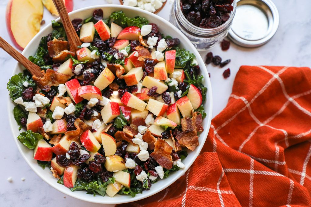 Everyone loves this tasty apple bacon and cranberry salad! It's so easy to make and it perfect for potlucks, parties and every other get together!