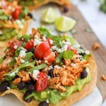 Simple, easy and so full of flavor too! These delicious spicy chicken tostadas are perfect for a quick weeknight meal!
