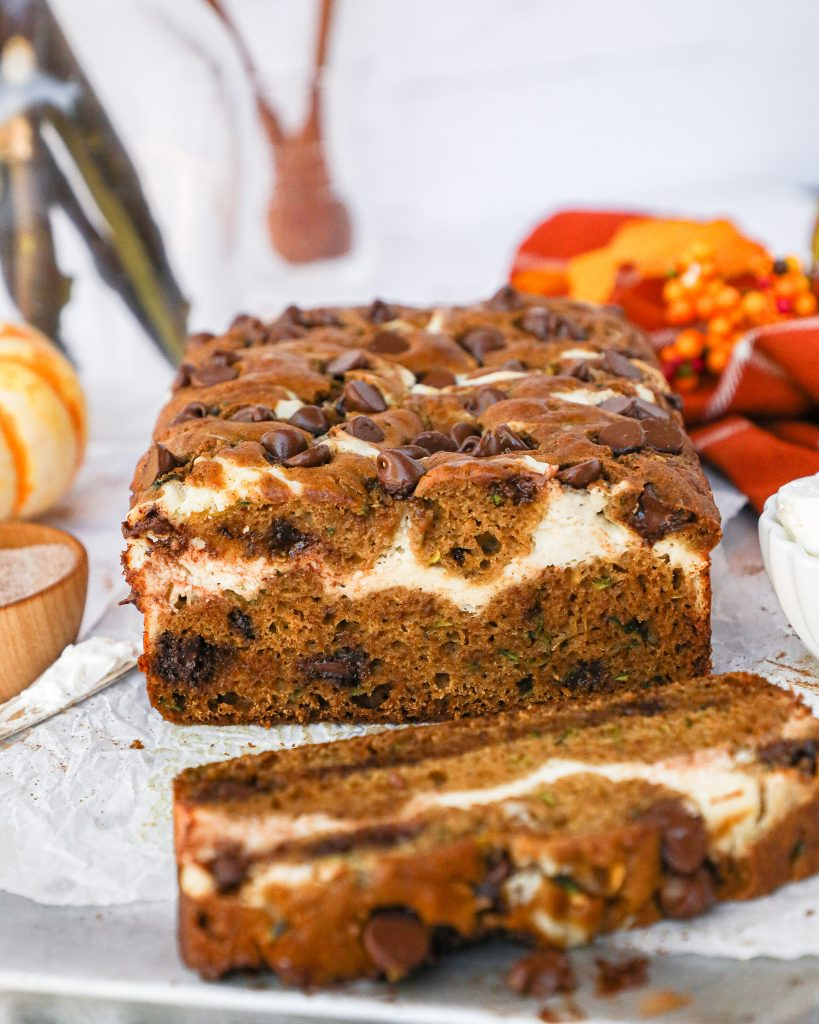 Cream cheese, chocolate chips and loaded with grated zucchini! This healthier bread recipe tastes like a dream and is the perfect weekend treat!