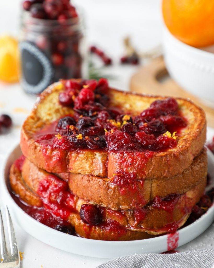 Cranberry orange french toast is an easy breakfast or brunch for the holiday season! It's sweet, tart, full of fresh flavors and is always a crowd pleaser too!
