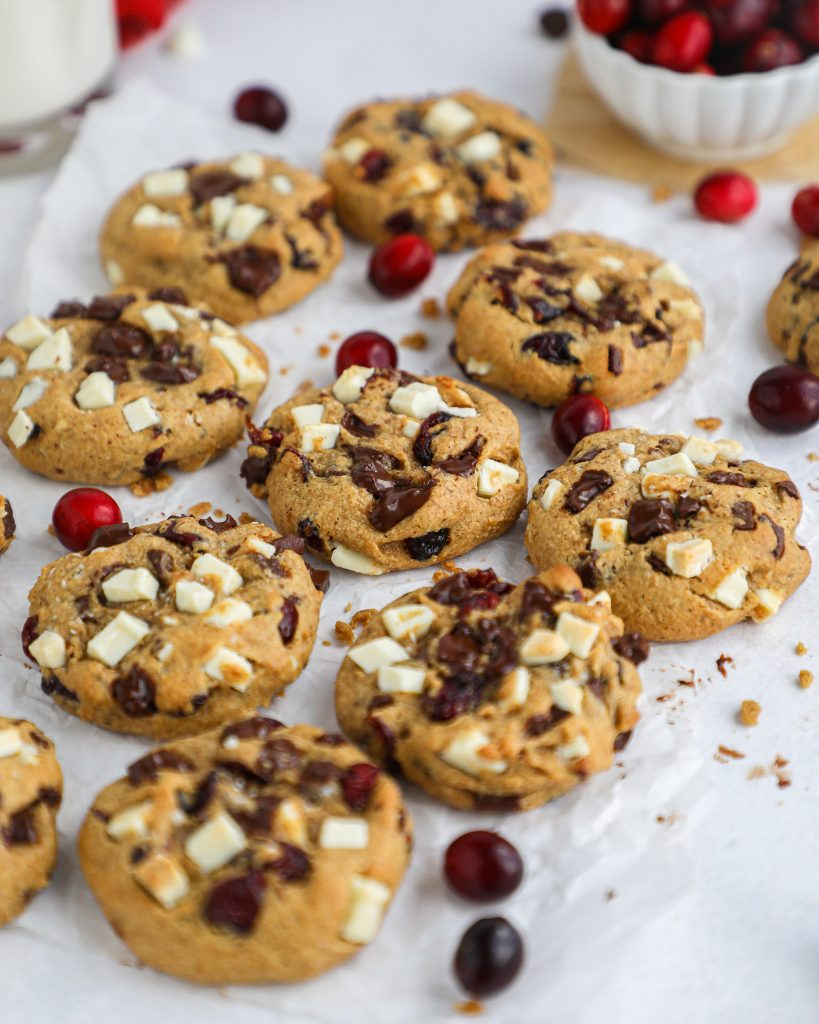 Thick and chewy chocolate chip cranberry cookies! They're made with better for you ingredients, are refined sugar free and are so tasty your guests will never know they're healthier too!