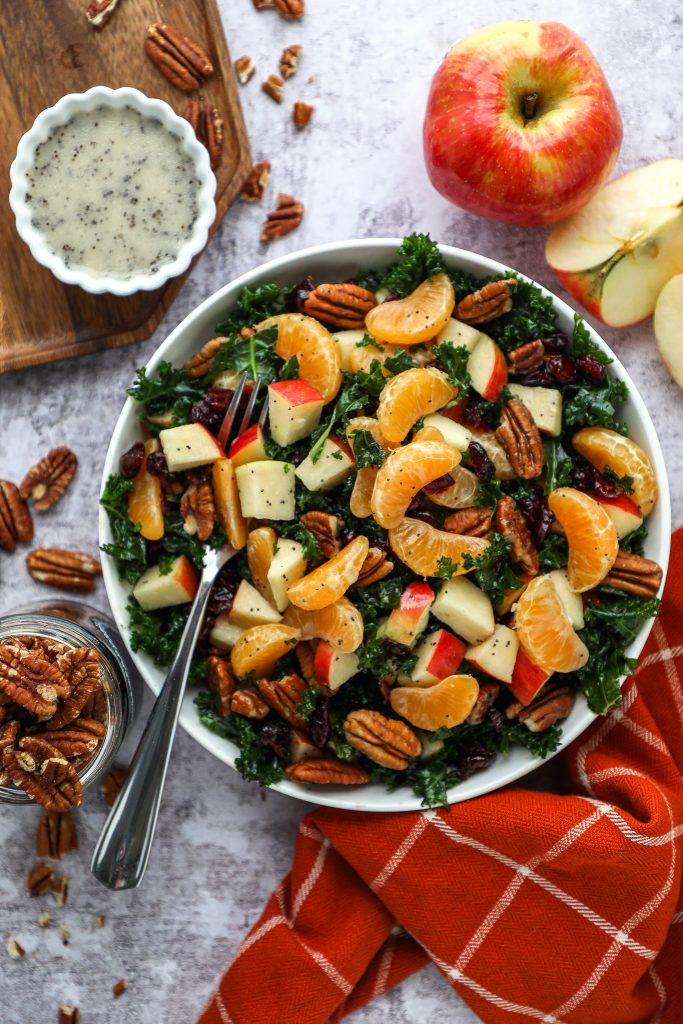 This quick and easy apple and mandarin salad recipe is always a hit with our guests! It's creamy, full of fresh ingedients and is bursting with fresh citrus and apple flavor!