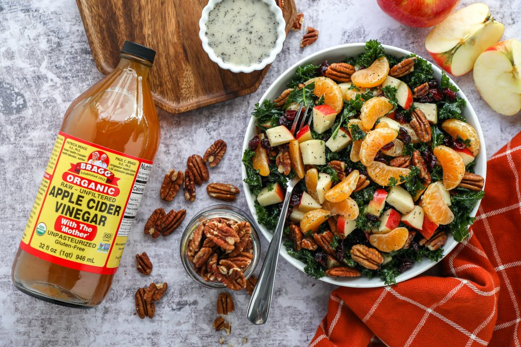 This healthy side salad is the perfect way to kick off the new year! It's full of fresh apples and mandarin oranges and is all tossed in an easy poppy seed dressing!