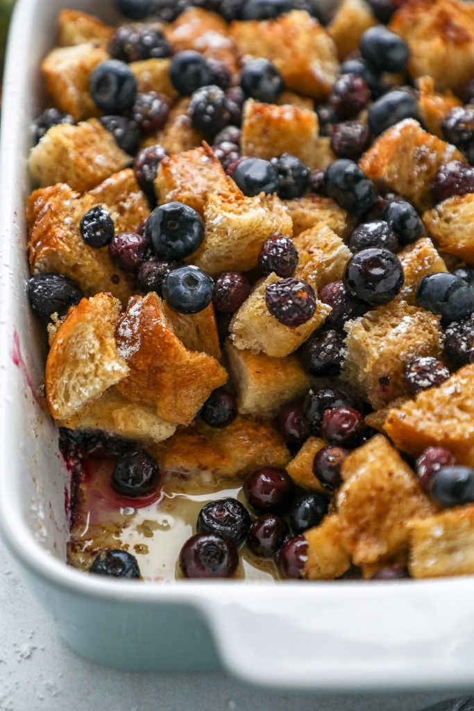 Blueberry french toast casserole is the perfect lazy breakfast or brunch! It's made with simple ingredients, can easily be prepped the night before and takes no time at all to bake!