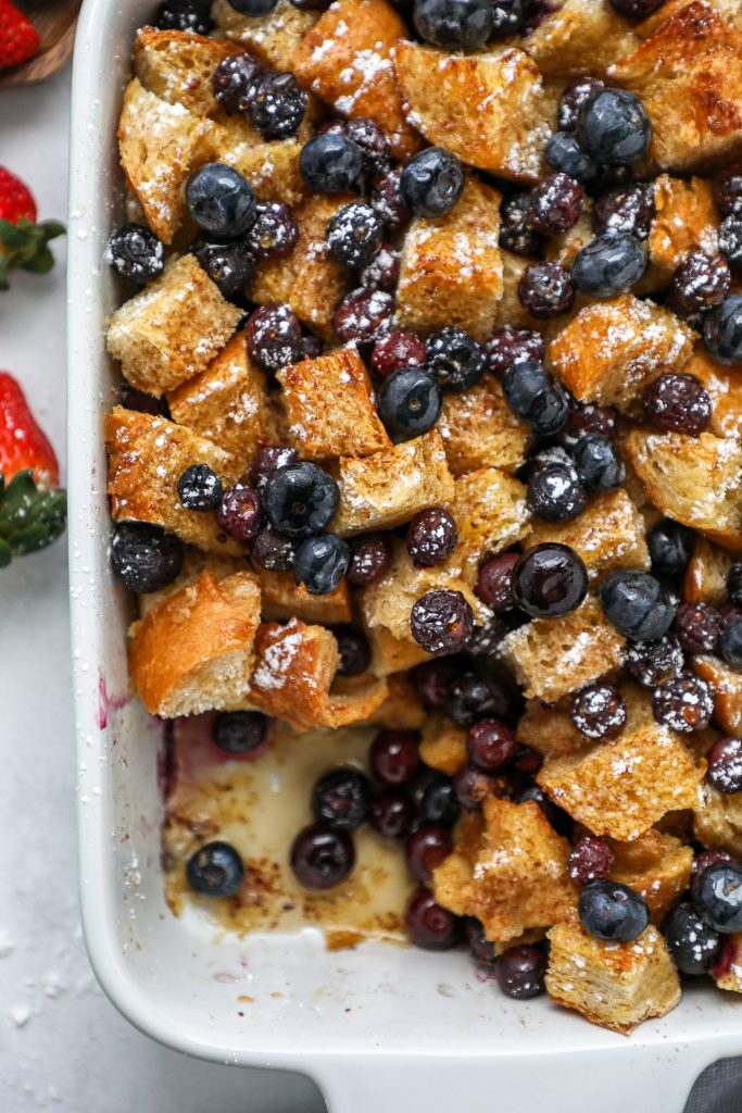 Sweet, cinnamony and bursting with juicy blueberries! This easy breakfast dish is one that you'll want to make again and again!