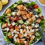This hearty and tangy salad makes a perfect meal prepped dish for during the week! It's easy to make and full of your favorite Mediterranean flavors too!