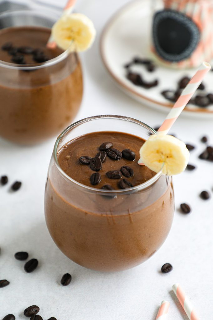 Looking for a healthier way to get your coffee in? Then you need to try these simple chocolate filled mocha smoothies! They're so refreshing and are made with better for you ingredients too!