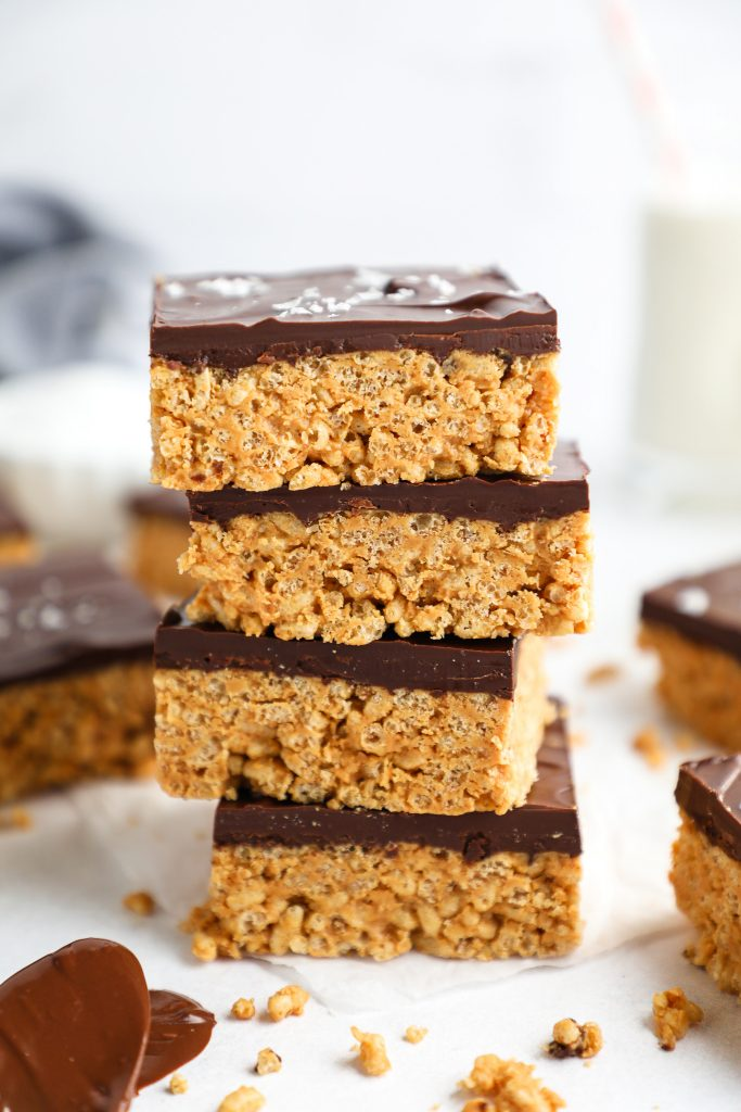 A healthier verison of your favorite childhood rice krispie treats! These treats are made with peanut butter and honey and are topped with a decadent layer and chocolate peanut butter too!
