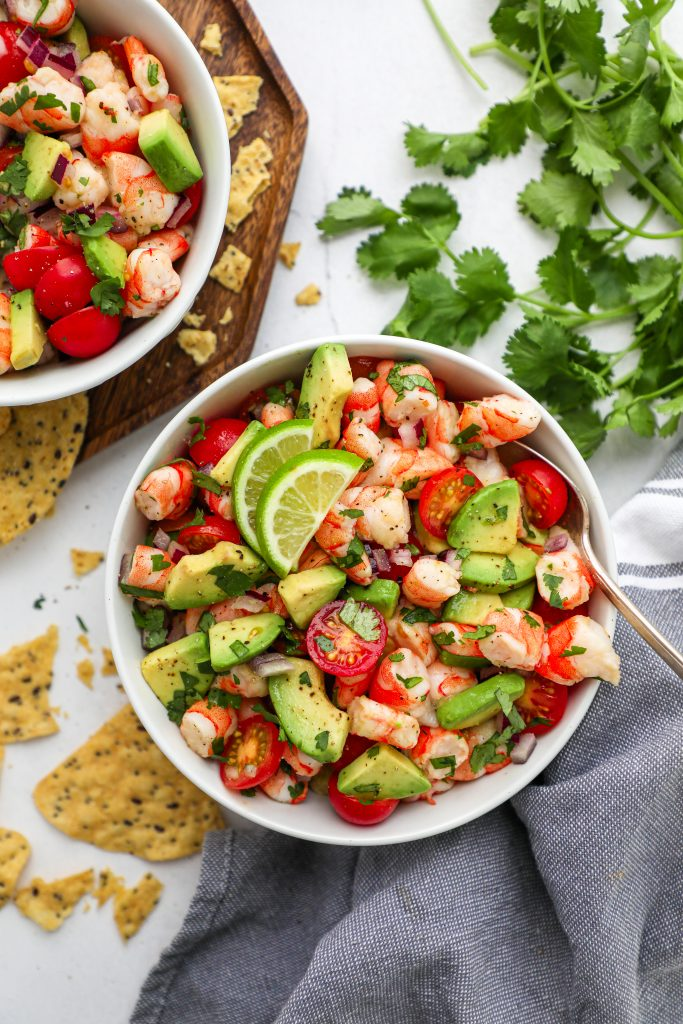 This is my go-to salad for a light lunch during the week! It's full of cooked shrimp and fresh ingredients and all tossed in a zesty cilantro lime dressing!