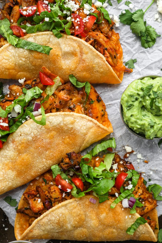 These chicken tacos are sure to become a family favorite meal in no time! They're easy to make, full of Mexican herbs and spices and so much healthier for you too!