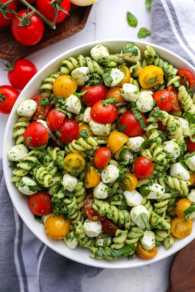 Fresh, easy and full of so much flavor! This pesto pasta salad is the best side dish for summer!