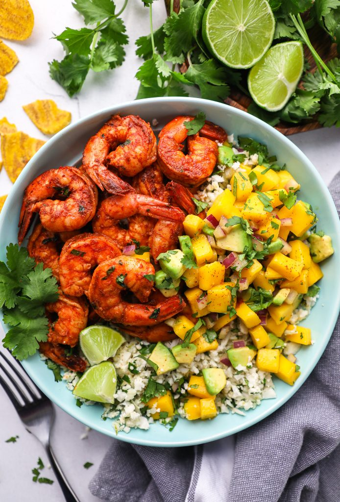 A quick and easy meal prepped lunch! These delicious shrimp bowls are full of flavor and are so good for you too!