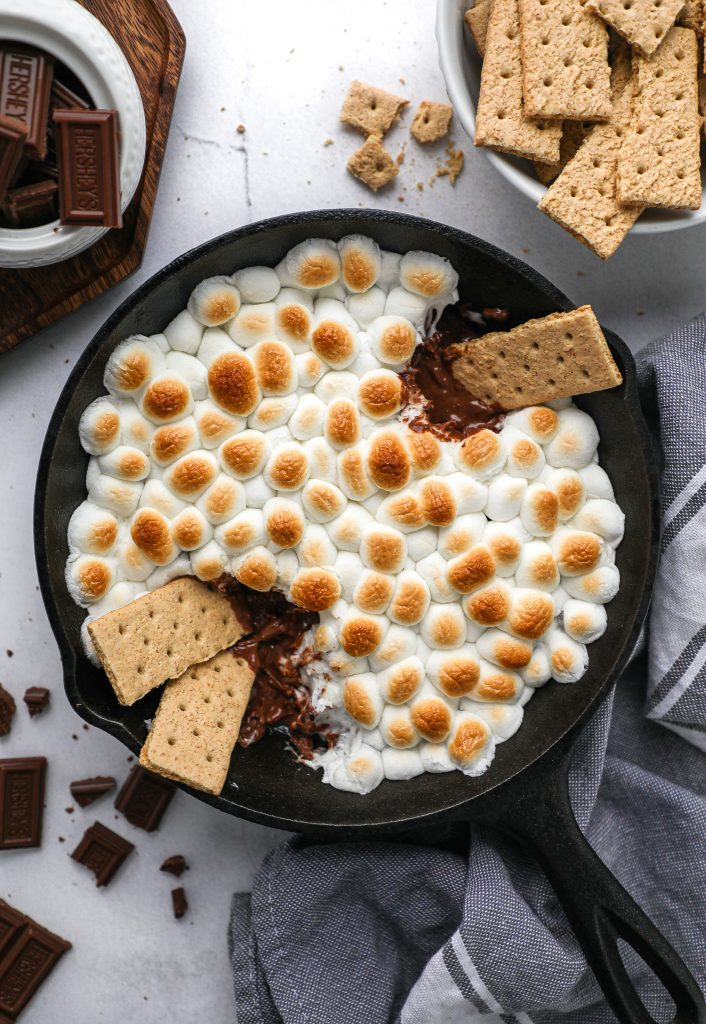 Rich, decadent and everything you love about a classic smore! This dip is made with minimal ingredients and is so much fun to serve at parties too!