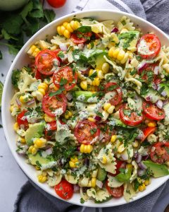 A true family favorite! This easy pasta salad is full of zesty Mexcian flavors with just a hint of spice!