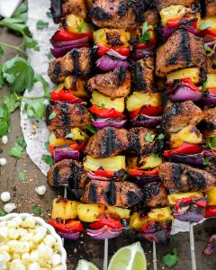 These easy jerk chicken skewers are perfect for summer! They're only 5 ingredients and full of island flavor!