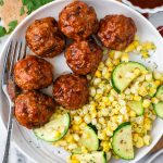 Delicious bbq turkey meatballs that are crispy on the outside and tender in the middle! Plus they're dairy free and easily made gluten free too!