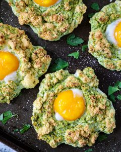 Pesto egg clouds made with just 3 simple ingredients! They're the perfect healthy breakfast to serve to your guests!