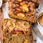 An easy banana bread recipe that's made with peaches and cinnamon and is perfect for summer! Plus there's no oil or butter in it too!