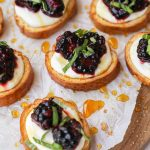 Blackberry bruschetta with whipped ricotta is fun appetizer to serve for any occasion! It's sweet, creamy and has the perfect little bit of crunch!