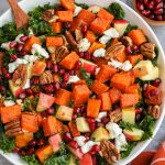 Roasted butternut squash and kale salad is the perfect side dish for any fall meal! It's loaded with fresh autumn ingredients and is always a crowd favorite!
